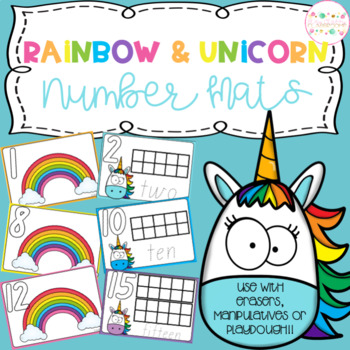 Rainbow and Unicorn Playdough Number Mats