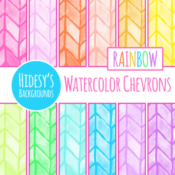Rainbow and White Watercolor Chevron Backgrounds / Digital Papers / Clip Art Set