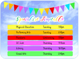 Class Subject Timetable Display - Rainbow and Clouds - Editable