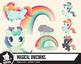 Rainbow and unicorn clip art, bright magical unicorns—Set one