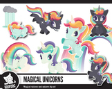 Rainbow and unicorn clip art, bright magical unicorns—Set one