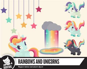 Rainbow and unicorn clip art, bright magical unicorns—Set two