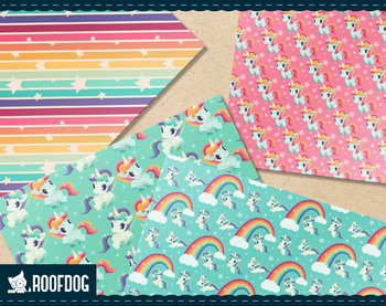 Rainbow and unicorn digital paper