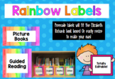 Rainbow book and story box labels {Editable}