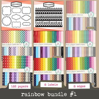 Rainbow bundle 1 -    rainbow digital papers and labels bundle