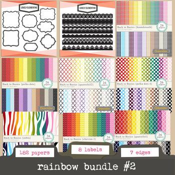 Rainbow bundle 2 -    rainbow digital papers and labels bundle