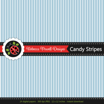 Rainbow candy nautical stripes printable digital papers set/ backgrounds