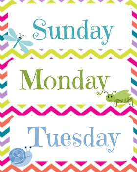 Rainbow chevron Days of the week bundle set