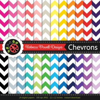 Rainbow chevron stripes printable digital papers set/ backgrounds