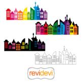 Rainbow city skyline buildings superhero backdrop clip art