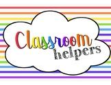Rainbow classroom helpers signs