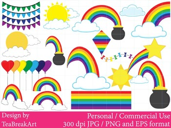 Rainbow clipart-Digital Clip Art graphic Personal or Commercial Use-Birthday
