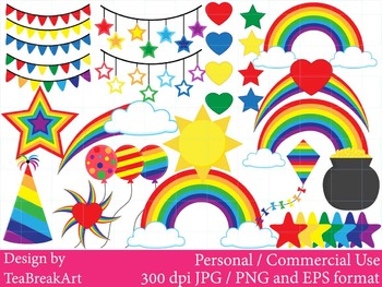 Rainbow clipart-Digital Clip Art graphic Personal or Comme