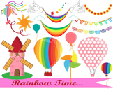 Rainbow clipart-Digital Clip Art graphic Personal or Commercial Use(013)