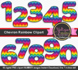 Rainbow clipart numbers chevron colorful number clip art.