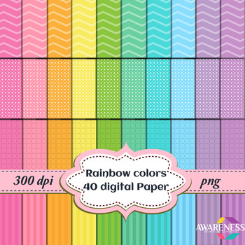 Digital Paper Background: Rainbow colors