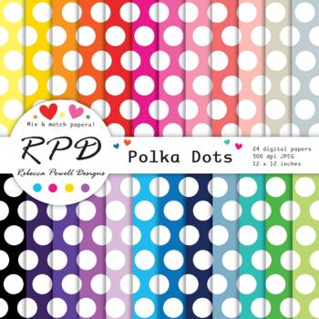 Rainbow colours polka dot printable digital papers set/ backgrounds