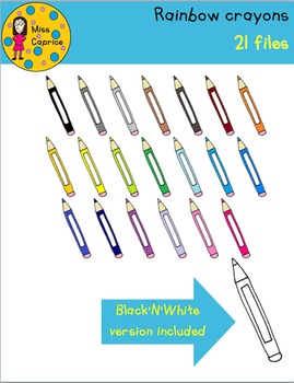Rainbow crayons & erasers cliparts - Miss Caprice