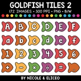Rainbow fish Letter and Number Tiles Clipart 2
