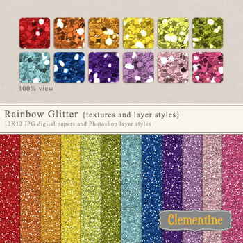 Rainbow glitter textures and layer styles