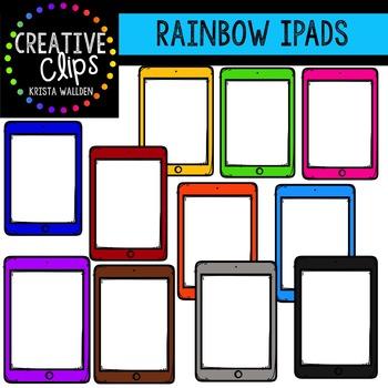 Rainbow iPads {Creative Clips Digital Clipart}