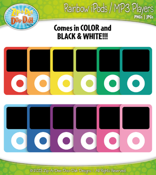 Rainbow Pod MP3 Music Player Clipart — Includes 18 Graphics!