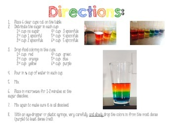 Rainbow in a Jar- Science Experiment Freebie