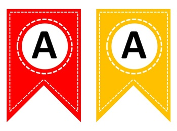 Rainbow letter bunting   Editable