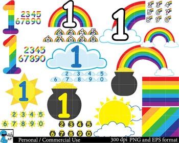 Rainbow numbers Digital Clip Art Graphics 100 images cod25