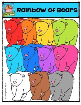 Rainbow of Bears {P4 Clips Trioriginals Digital Clip Art}