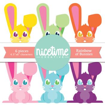 Rainbow of Bunnies- Freebie 6 Pack