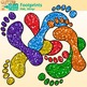 Rainbow Footprint Clip Art {Feet Graphics for Brag Tags &