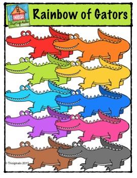 Rainbow of Gators {P4 Clips Trioriginals Digital Clip Art}