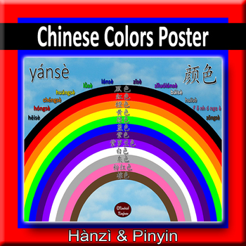 Mandarin Chinese Colors Rainbow Poster By Global Guy Ink Tpt
