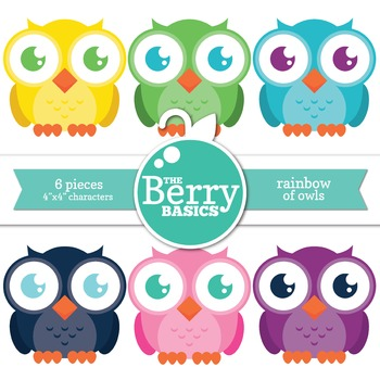 Rainbow of Owls- 6 Pack