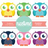 Rainbow of Owls- 6 Pack