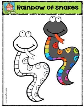 Rainbow of Snakes {P4 Clips Trioriginals Digital Clip Art}