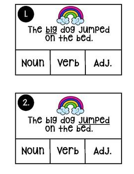 Rainbow parts of speech clip cards