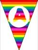 "Rainbow pennants spell ""word wall"""