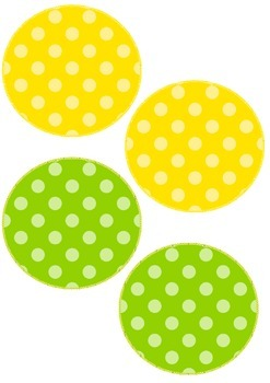 Rainbow polka dots display