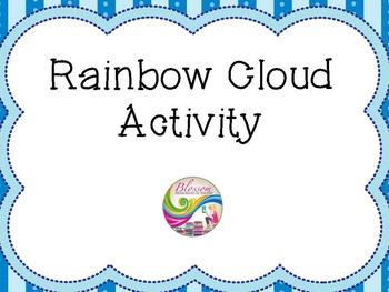 Rainbow raindrops cloud template