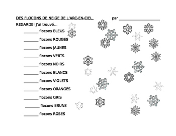 Rainbow snowflakes: colours and numbers