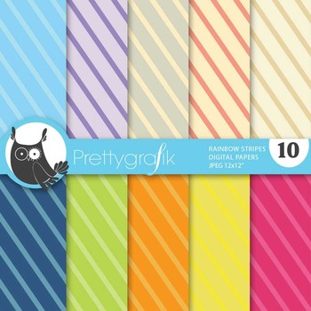 Rainbow stripes digital paper, commercial use, scrapbook papers - PS517