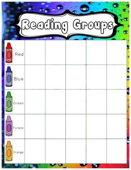Rainbow themed - Reading Groups Poster