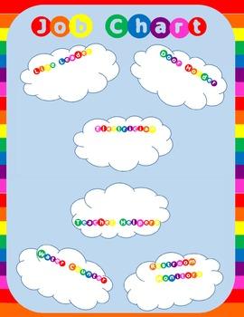 Rainbow themed job chart