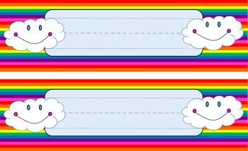 Rainbow themed name plates for desks