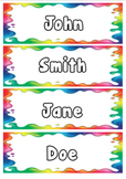 Editable rainbow tote tray labels