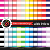 Rainbow wide nautical stripes printable digital papers set