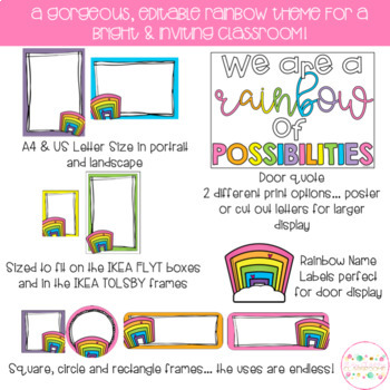 Rainbows Classroom Theme Pack - Editable Name Tags, Labels and Posters