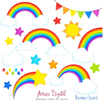 Rainbows Clipart Scrapbook printable Vector clip art .eps rainbow party clouds